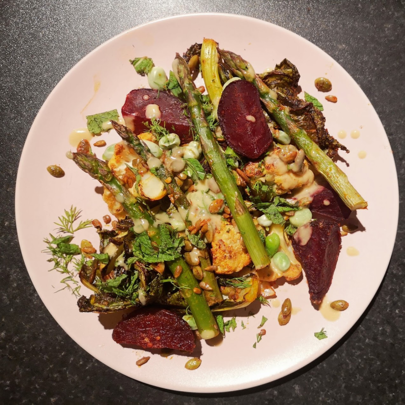Cauliflower, beetroot and asparagus salad Meera Sodha The Guardian
