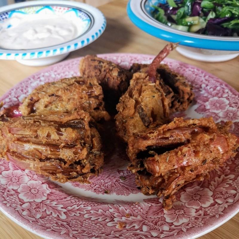 Shallot Blossoms with paprika crème fraîche   Sabrina Ghayour (Bazaar: Vibrant Vegetarian Recipes)