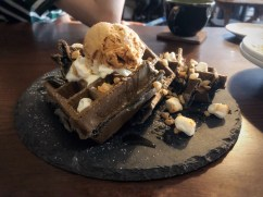 Bamboo Charcoal Waffle w/ Rice Krispies, Honey, and Ice Cream | HKD76