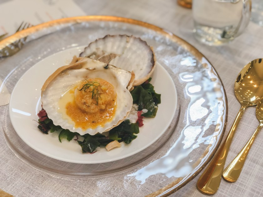 scallops with crab roe