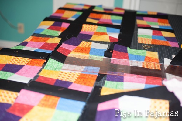 Laying out crazy 9 patch quilt top 17632439156 o