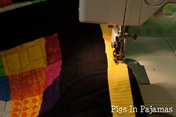 Sewing on binding for crazy 9 patch 19460753521 o