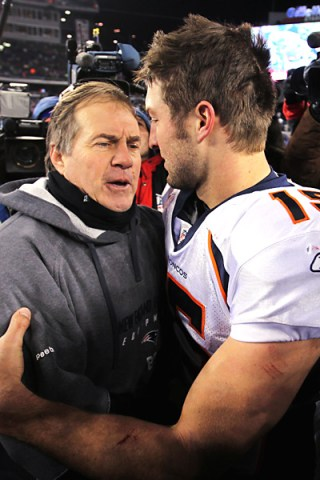 Patriots coach Bill Belichick and Tim Tebow as Broncos QB (Photo: espn.go.com)