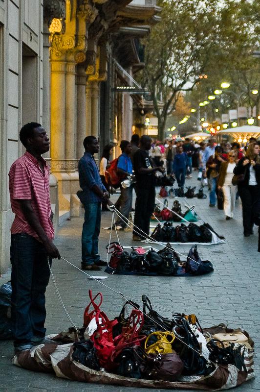 Gadehandlere i Barcelona
