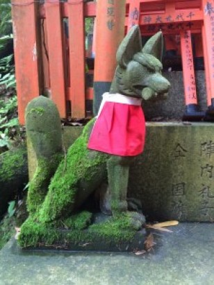 A beautiful old fox statue I saw at the foot of a personal shrine.