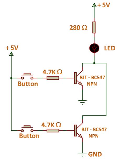 OR Gate using NPN Transistor