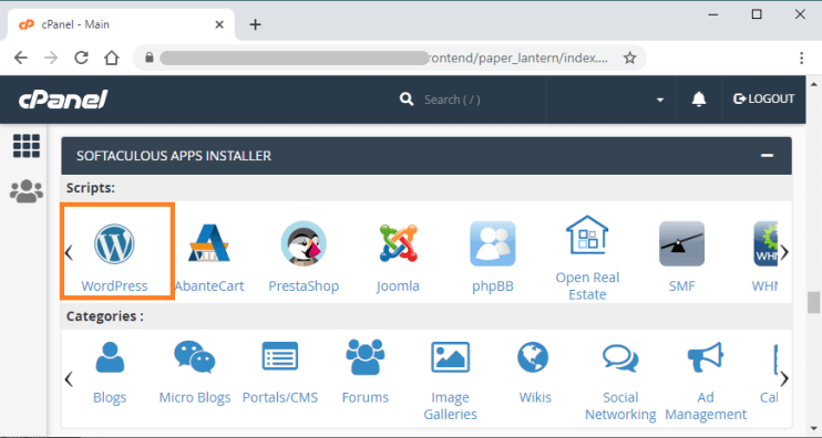 install WordPress using cpanel softaculous apps installer