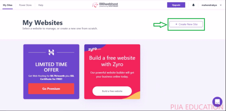000webhost create new site