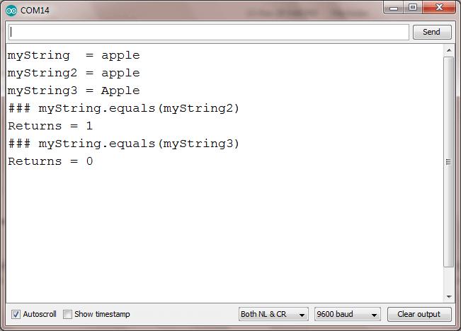 string equals arduino