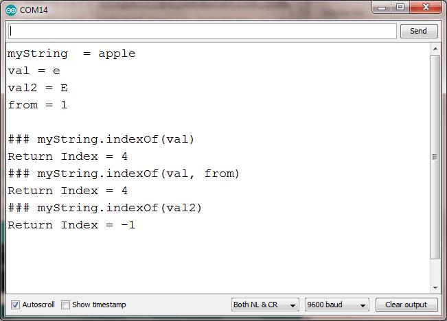 indexOf string arduino