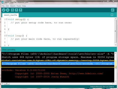 Find hex file upload command