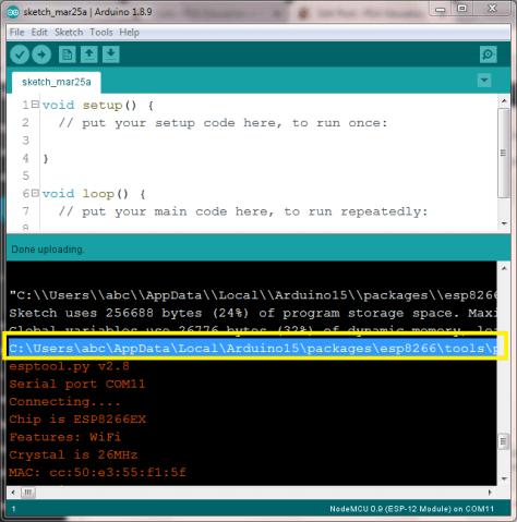 Find NodeMCU/ESP8266 bin file upload command