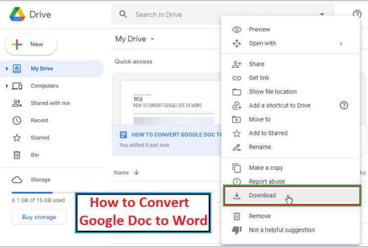 How to convert google doc to word Drive