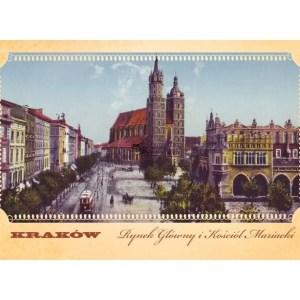 Pocztówka XIX wieczny widok Rynku Głównego