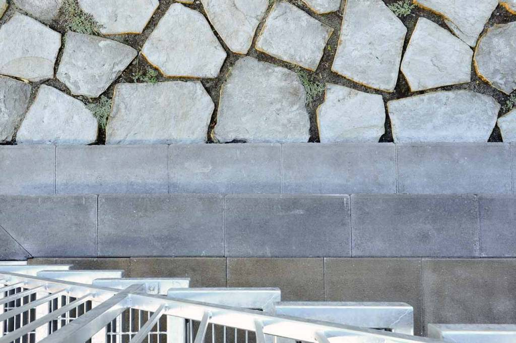 Stone and concrete detail viewed from above