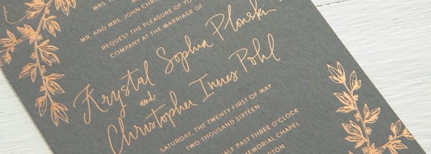 Foil Letterpress Wedding Invitation
