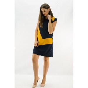 Vestido bicolor Azul-Mostaza