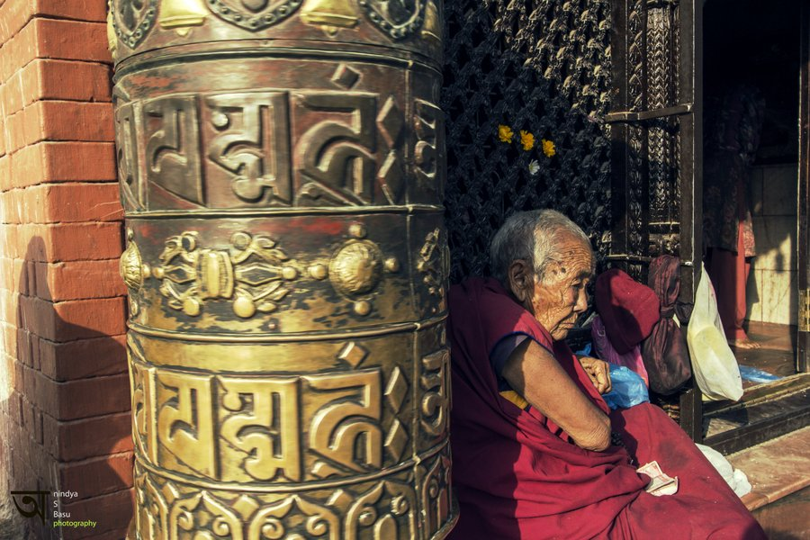 Prayer Wheel Boudhanath Stupa Kathmandu