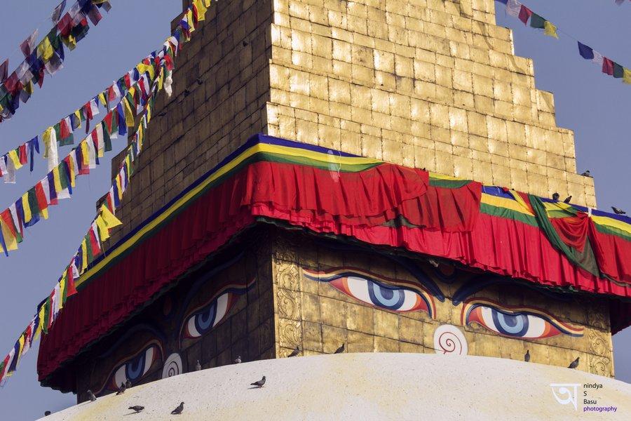 Buddha eyes Boudhanath Stupa Kathmandu