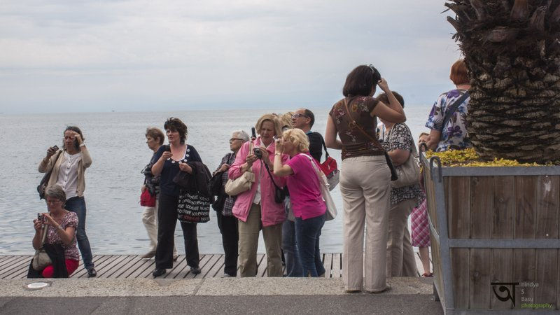 Visitors in Lake Geneve Montreux