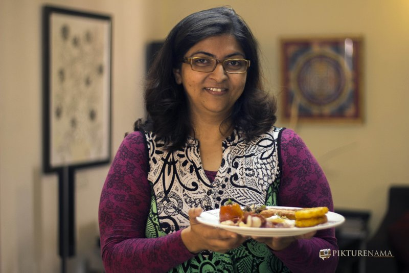 Madhushree is all happy holding the All day breakfast by Flurys Kolkata