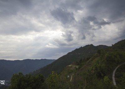 Sun rays through cloud from World Peace Pagoda Pokhara