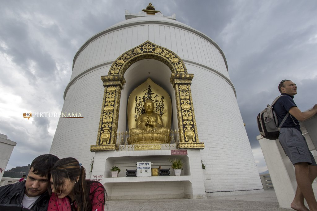 World Peace Pagoda Pokhara close up