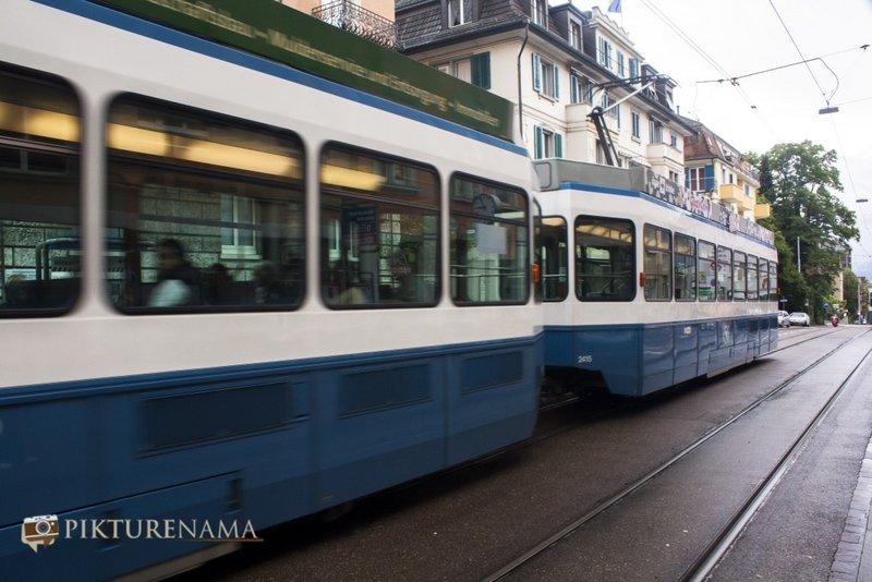 A tram in Zurich , Switzerland