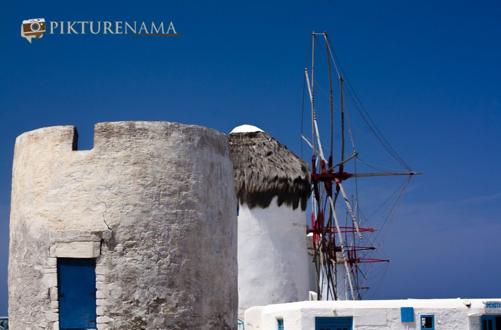 Kato Myloi - The windmills of Mykonos Greece by pikturenama