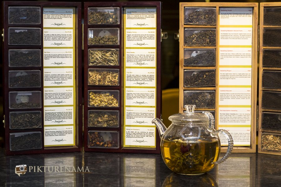 pikturenama at The Lalit Great Eastern Kolkata Tea Lounge the tea menu