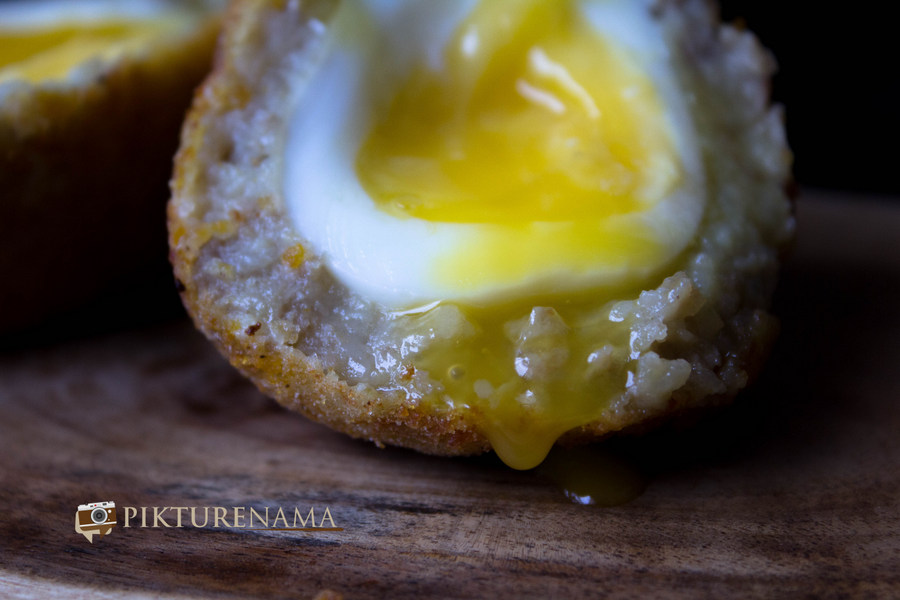 The runny yolk of Dimer Devil or Scotch eggs Desi style by pikturenama