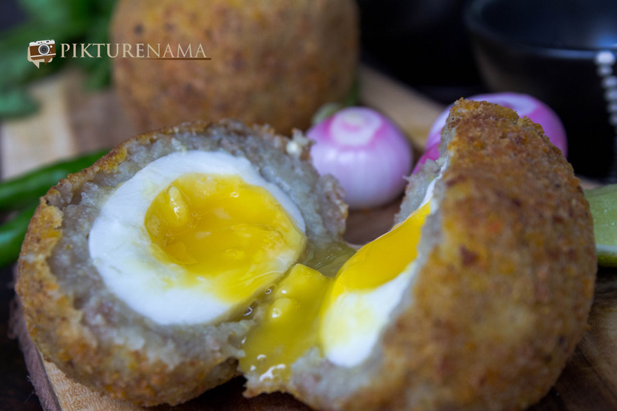 Sliced Dimer Devil or Scotch eggs Desi style by pikturenama