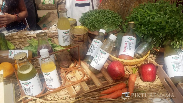cold pressed juices by just pressed in The farmers market kolkata by Karen Anand