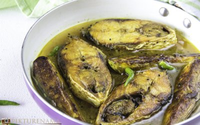 Ilish Begun Jhol | Hilsa and eggplant curry Bengali style