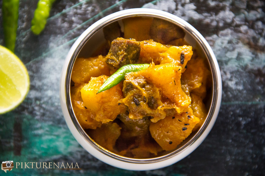 Kumro Meter chorchori | Pumpkin and mutton liver stir fried