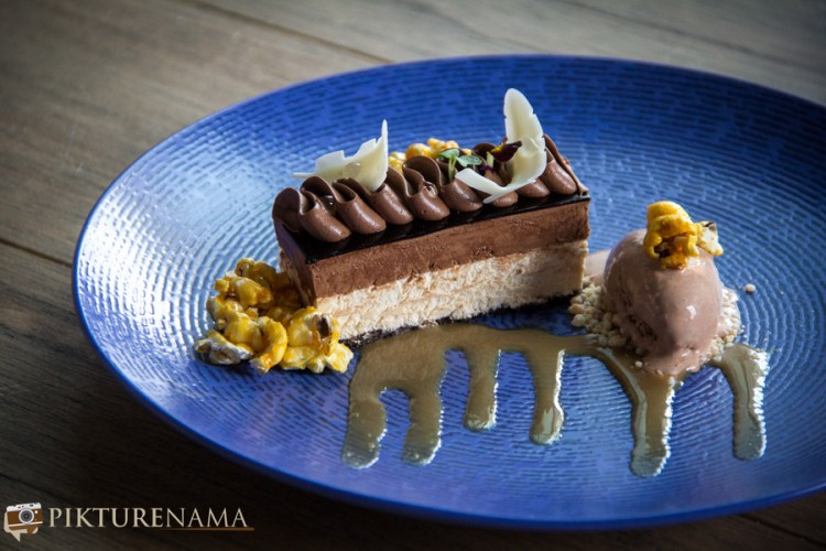Afraa restaurant and lounge chcoclate and caramel entremet