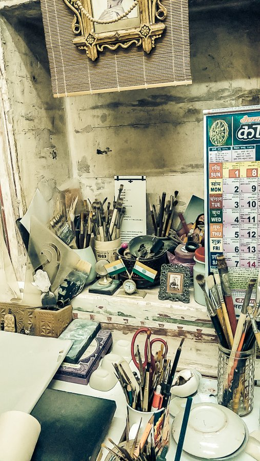 Mahaveer Swami the miniature artist from Bikaner some of his paintings and desk