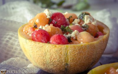 Frozen melon ball salad with Bandel Cheese- perfect for summers