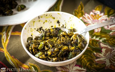 Neem begun / Crunchy Neem leaves with eggplant and a story of Good Friday