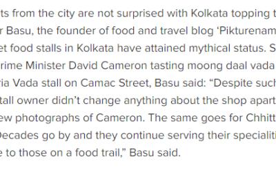 Times of India – On Street food of Kolkata