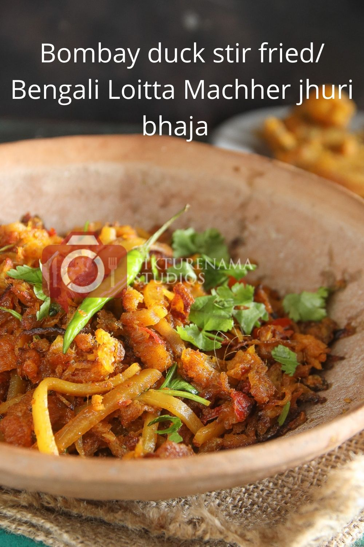 Bombay Duck Stir Fry / bengali loitte macher Jhuri bhaja - Pinterest 1