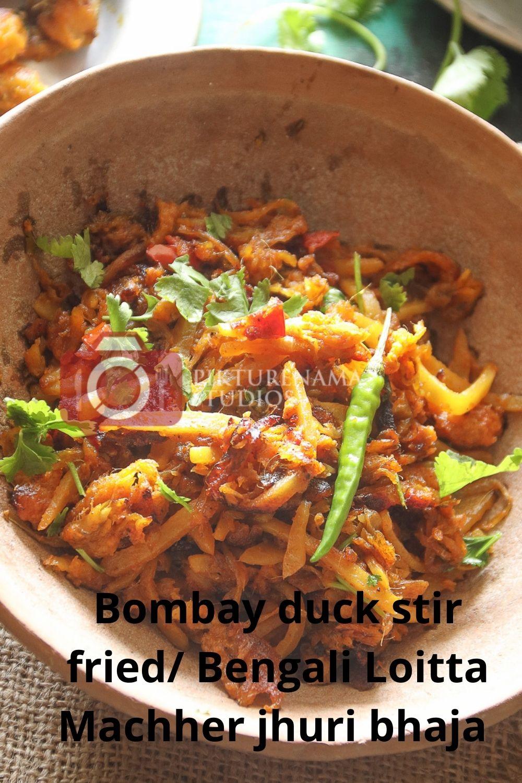 Bombay Duck Stir Fry / bengali loitte macher Jhuri bhaja -pinterest 2