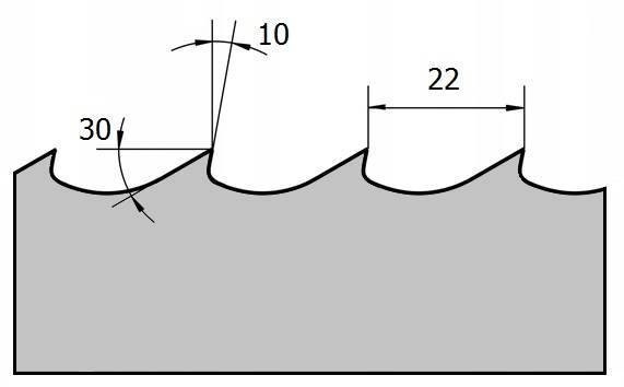 профиль зубьев ленточной пилы 1030