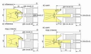 ДФ-04.54 комплект фрез для изготовления дверей с остеклением, Р6М5, 3 фрезы
