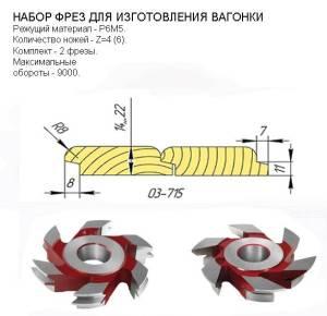 03-715.1 комплект фрез фрез для изготовления вагонки 130*32