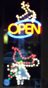 Christmas open sign