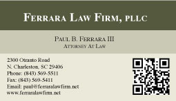 Ferrara Law Firm Business Card Design