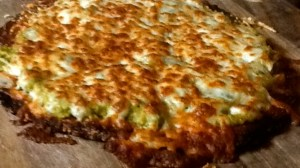 Cauliflower crust with Guacamole Pizza