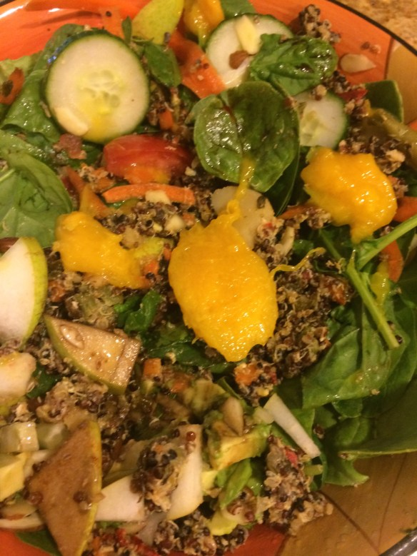 Mango, quinoa, cucumbers, pears, avocados, tomatoes, shaved carrot, slivered almonds, chia seeds, hemp seeds
