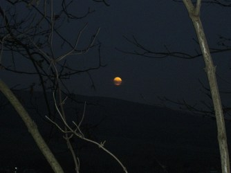 Blick vom Ith. Mondaufgang über dem Osterwald im November um 17 Uhr.